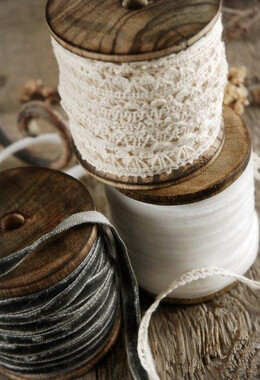 3 Wood Ribbon Spools (2.5in) w/ Velvet and Lace Ribbon