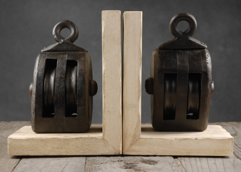 Set of Two Ships Pulley Bookends