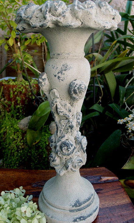 Shabby Chic Rose Pillar Candle Holder 15in
