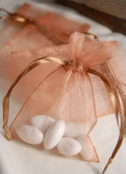 12 Organza Favor Bags Copper 3x4