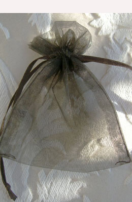 10 Organza Favor Bags Dark Brown 3x4