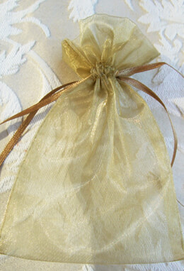 10 Organza 4x6 Gold Favor Bags