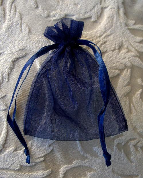 10 Organza  Navy Blue 3x4 Favor Bags