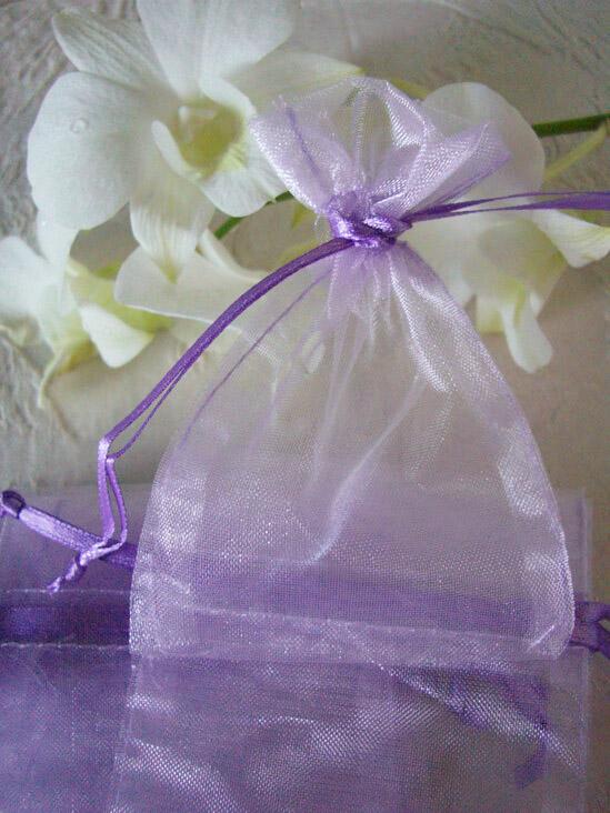 24 Lavender Organza Favor Bags 3x4