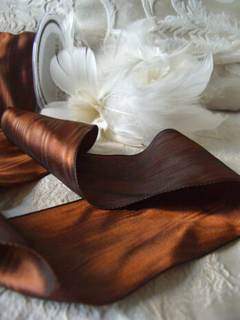 "Sienna Brown 3"" Deco Moire Satin Wired Ribbon  27 FT"