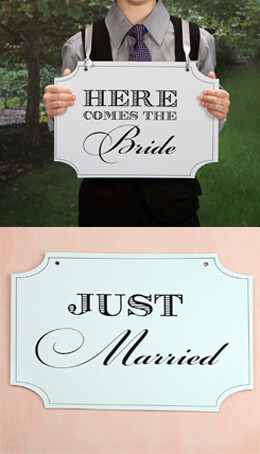 Wedding signs double sided wedding sign here comes the bride just married 14x10 junglespirit Images