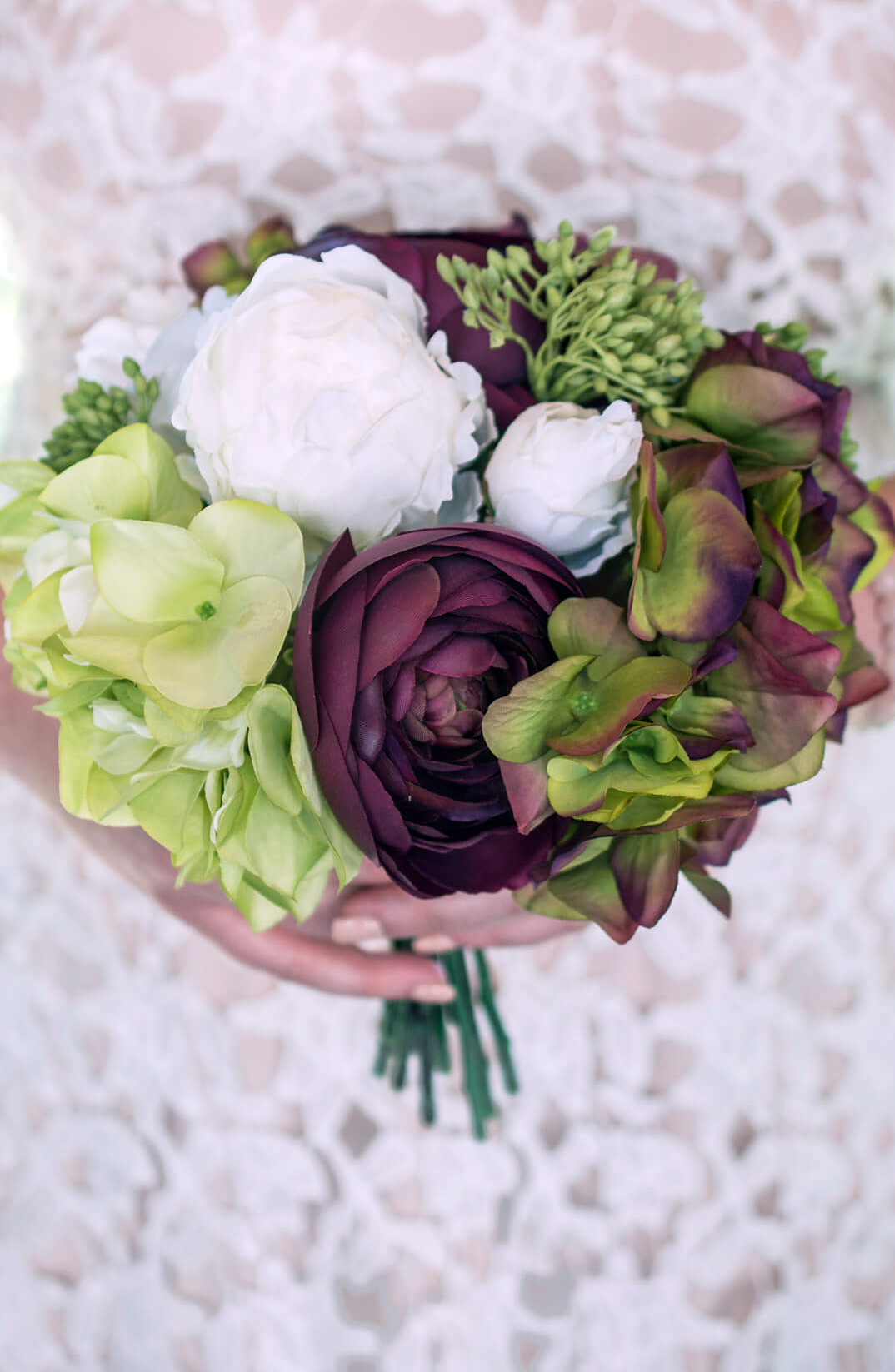 peony and hydrangea bouquet 10in