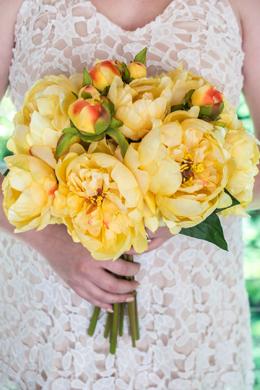 """Yellow Peony Bouquet  11"""""""