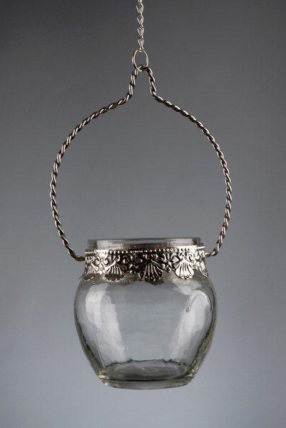 Hanging Tealight Candle Holder Glass & Silver 3""