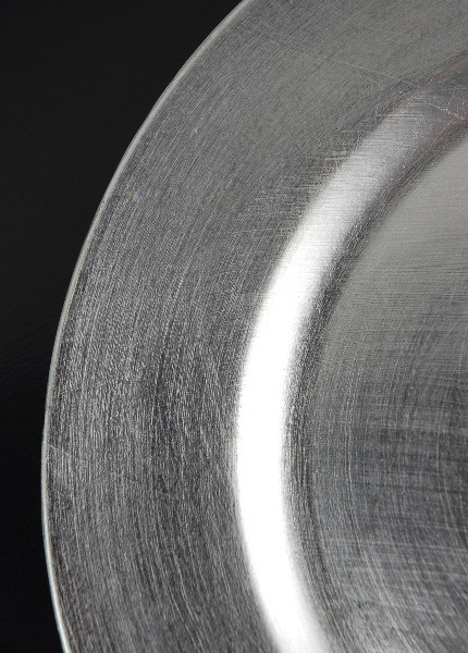 "6 - 13"" Round Silver Charger Plates"