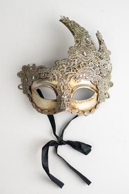 Silver Deco Mask with Lace