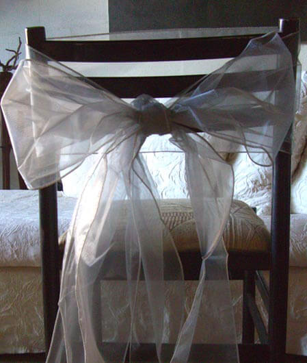 "Silver Organza Chair Sashes 7"" Wide  Pack of 50"