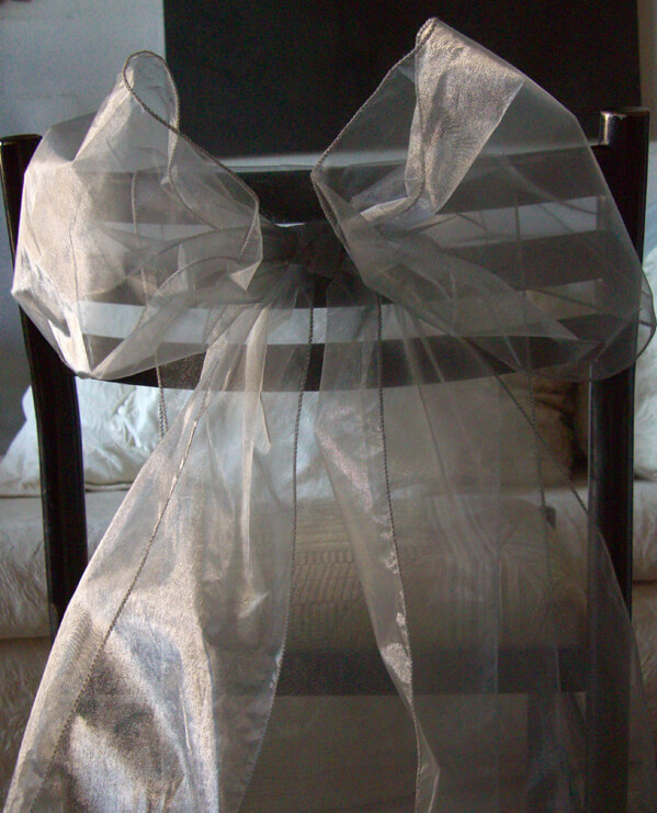"Silver Organza Chair Sashes 9"" Wide  Silver Pack of 10"