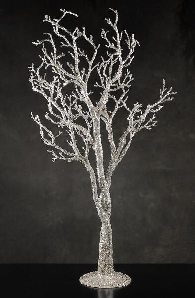 """Silver Glitter 38"""" Potted Manzanita Tree, Event Decor"""