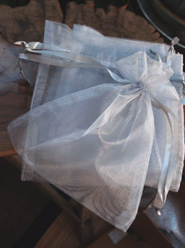12 Silver Organza Favor Bags 5x6