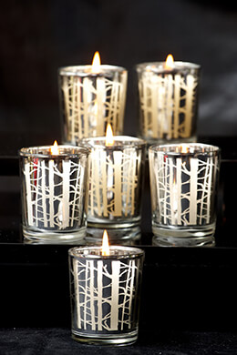 12 Silver Birch Branch Votive Holders