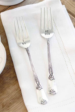 "Mud Pie  Wedding Forks ""I Do"" & ""Me Too""  Set of 2"