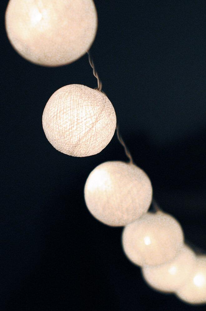 White Cotton Ball String Lights 20 Ct 8 Ft