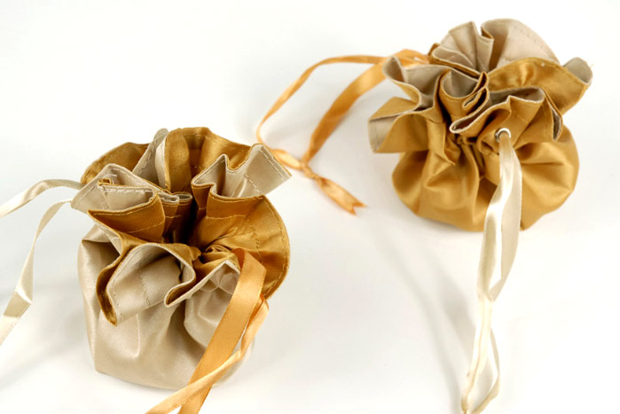 12 Tiny Satin Favor Bags Reversible Champagne & Gold