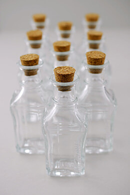 Small Glass Bottles with Cork 3.9in (Pack of 10)