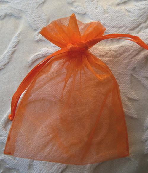 10 Orange 3x4 Organza Favor Bags