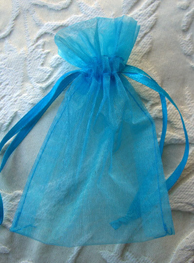 10 Organza 3x4 Favor Bags Turquoise