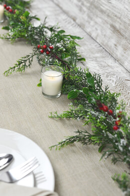 6' Outdoor Snowy Pine &  Berry Christmas Garland