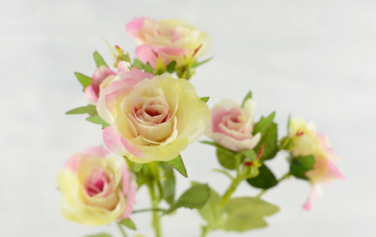 Long Stem Silk Roses Cream & Pink