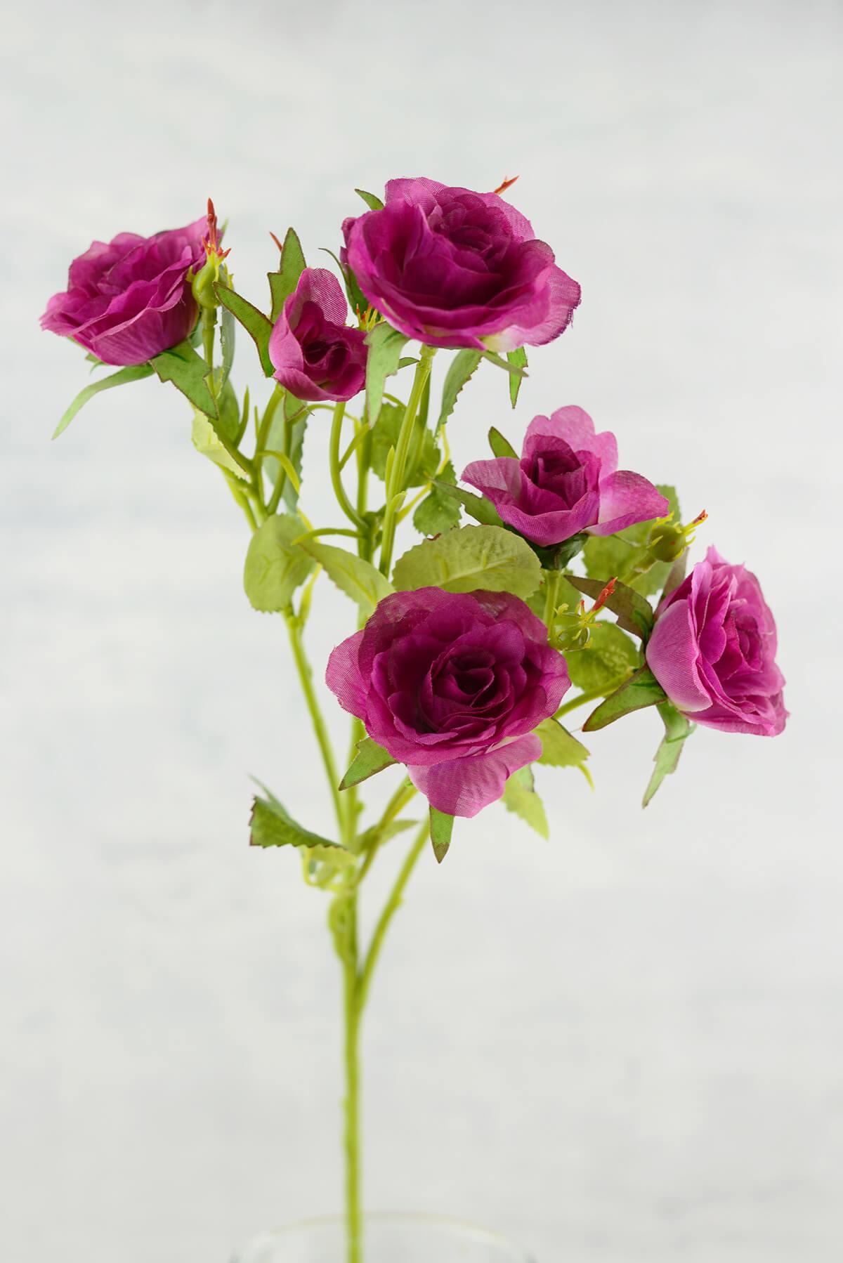 Long Stem Silk Roses Magenta Purple