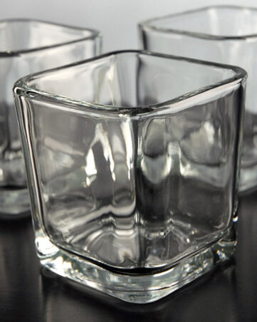 12 Square Thick Glass Candle Holders 3in