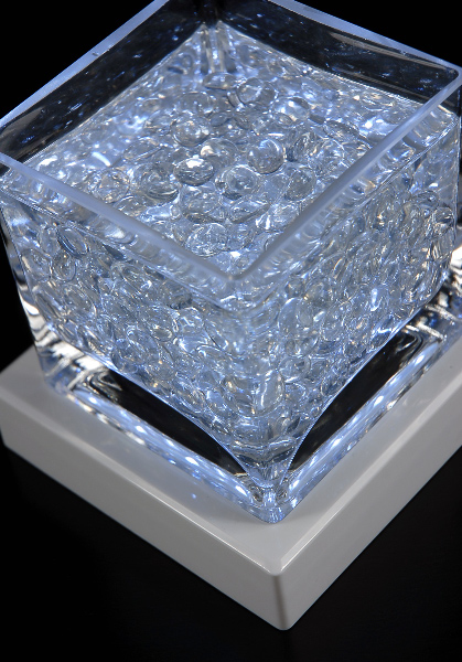 """White 5"""" Square Light Base 16 LEDs Cool White, Battery Operated"""
