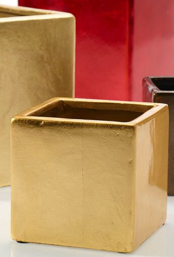"Square Party Pot 4"" Gold"