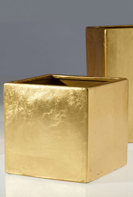 "6.5"" Square Gold Vase, Square Party Pot"