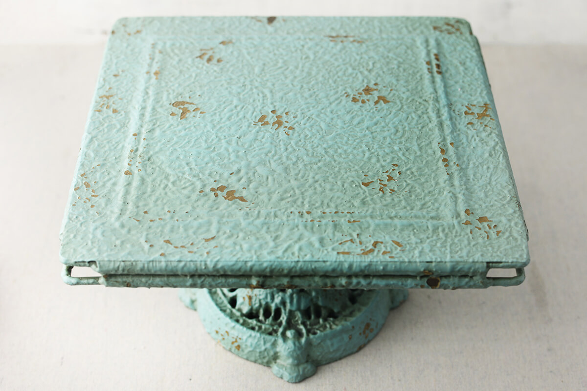 "Turquoise Turn of The Century Decorative Metal Pedestal 10-3/4"" Square"