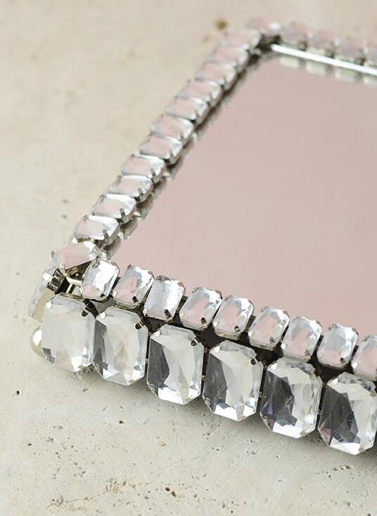 Diamond Crystal Mirror Pillar Candle Holder 7 x 7
