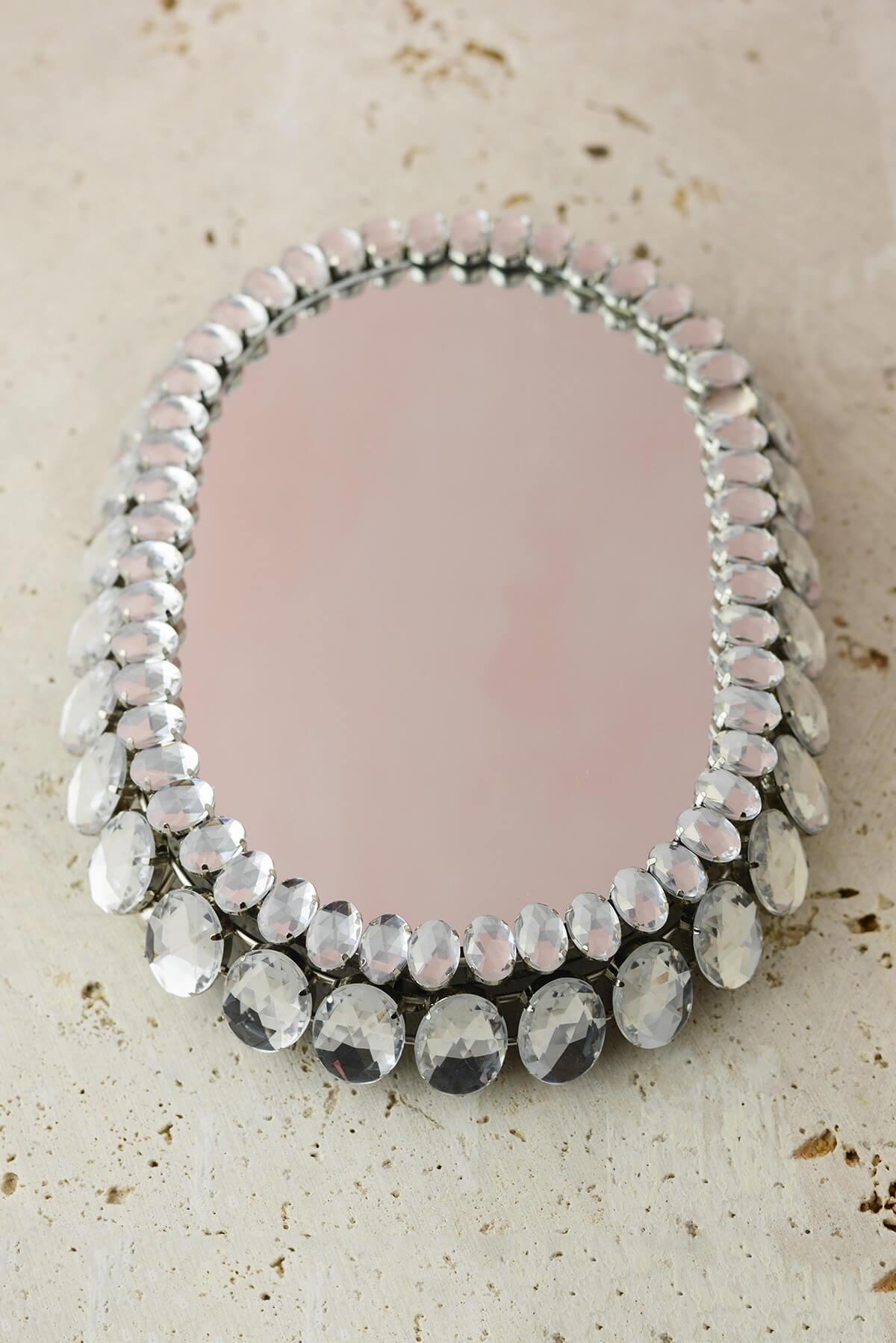 """Rhinestone Trimmed Mirror Stand 8.5"""""""