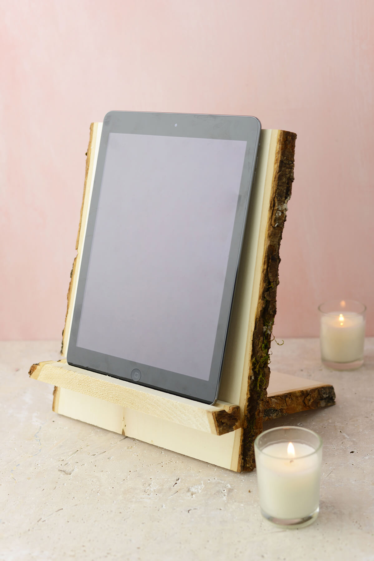 Tablet & Book Stand Natural Wood with Bark Edge