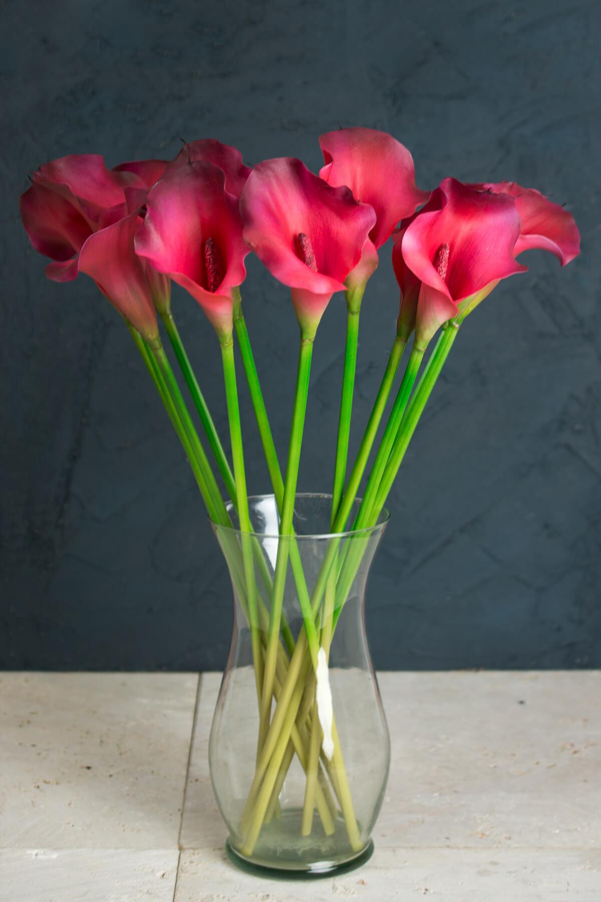 One Dozen Beauty Red Calla Lily Stems 21in Artificial
