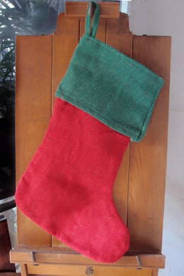 Red & Green Burlap Stockings
