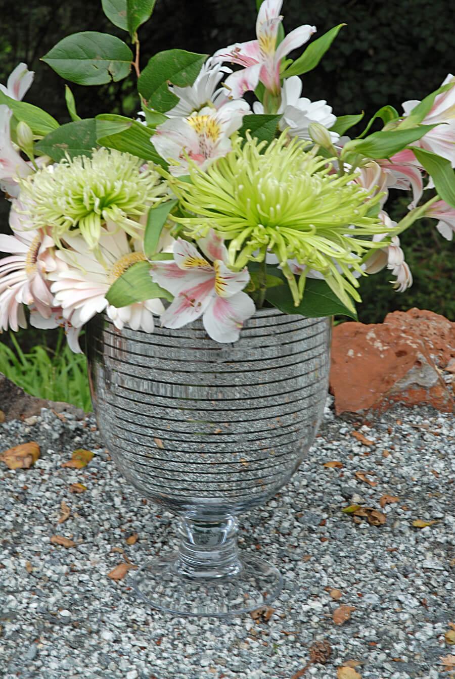 Silver Striped Vase 9in