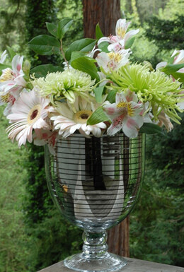 Silver Striped Vase 9in