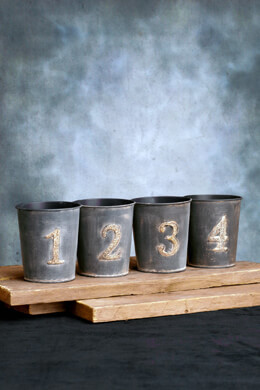"""Set of Four Tiny 4"""" Table Number Rustic Numbered Buckets"""