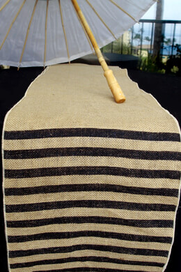 Burlap Black Stripe Table Runner