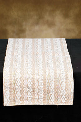 Table Runner Burlap & Lace 14x72in
