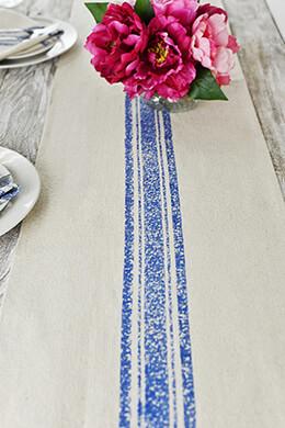 Table Runner Feed Sack Blue Stripe 14x72