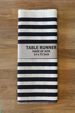 Ivory & Black Stripes Burlap Table Runner 14x72