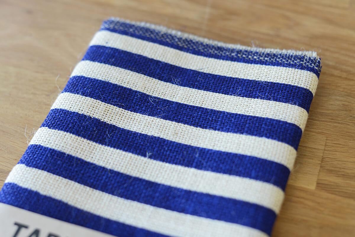 Ivory U0026 Blue Striped Burlap Table Runner 14x72