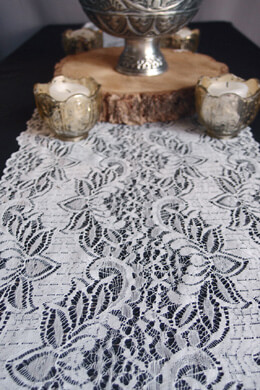 White Lace Table Runner 12 x 108 English Lace Design