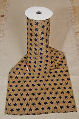 Table Runner Burlap with Navy Stars 10in x 9ft