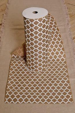 Burlap & White Lattice Linen Table Runner  Quatrefoil 10in x 9ft